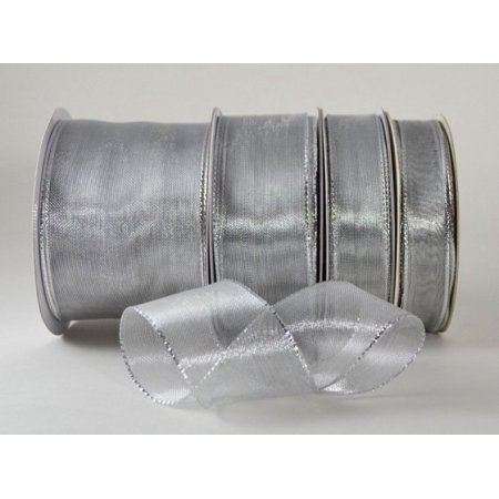 (Ribbon Bazaar Wired Shimmering Metallic Sheer 5/8 inch Silver 25 yards Ribbon)