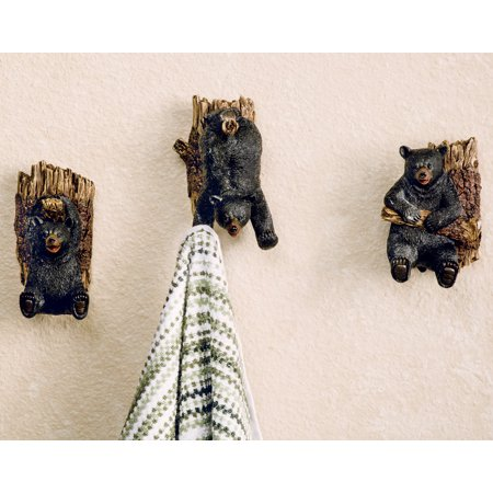 Frolicking Bear on Tree Hooks - Set of 3 - Rustic Decor](Beer Decor)