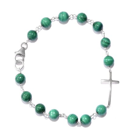 African Malachite Sterling Silver Side Cross Bracelet (7.25 In) TGW 24.00 cts.