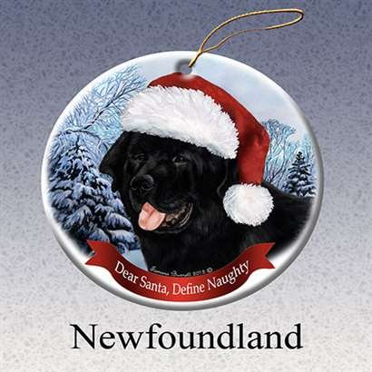 - Holiday Pet Gifts Newfoundland Santa Hat Dog Porcelain Christmas Tree Ornament