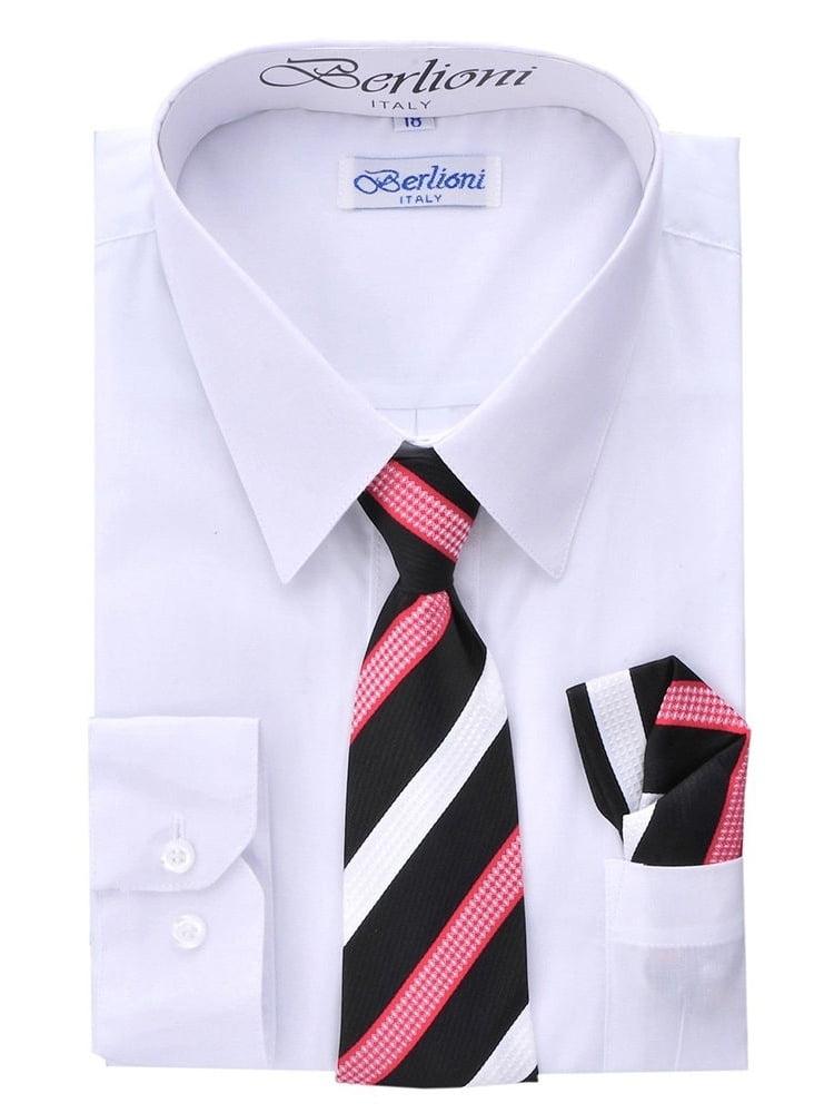Berlioni Kids Boys Long Sleeve Dress Shirt With Tie and Hanky  White
