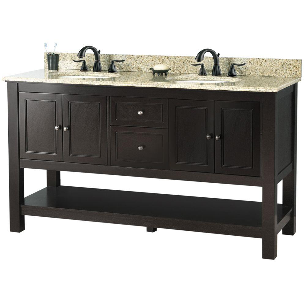 Gazette 61 in. Vanity in Espresso with Golden Hill Granite Vanity Top with White Double Bowl