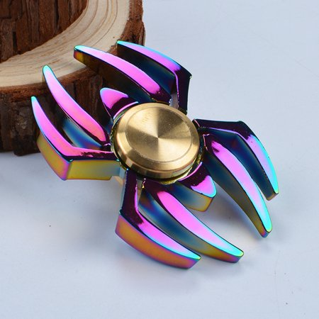 Rainbow Edc Spider Spinner Finger Fidget Gyro Focus Toy Adhd Autism Kid Gift