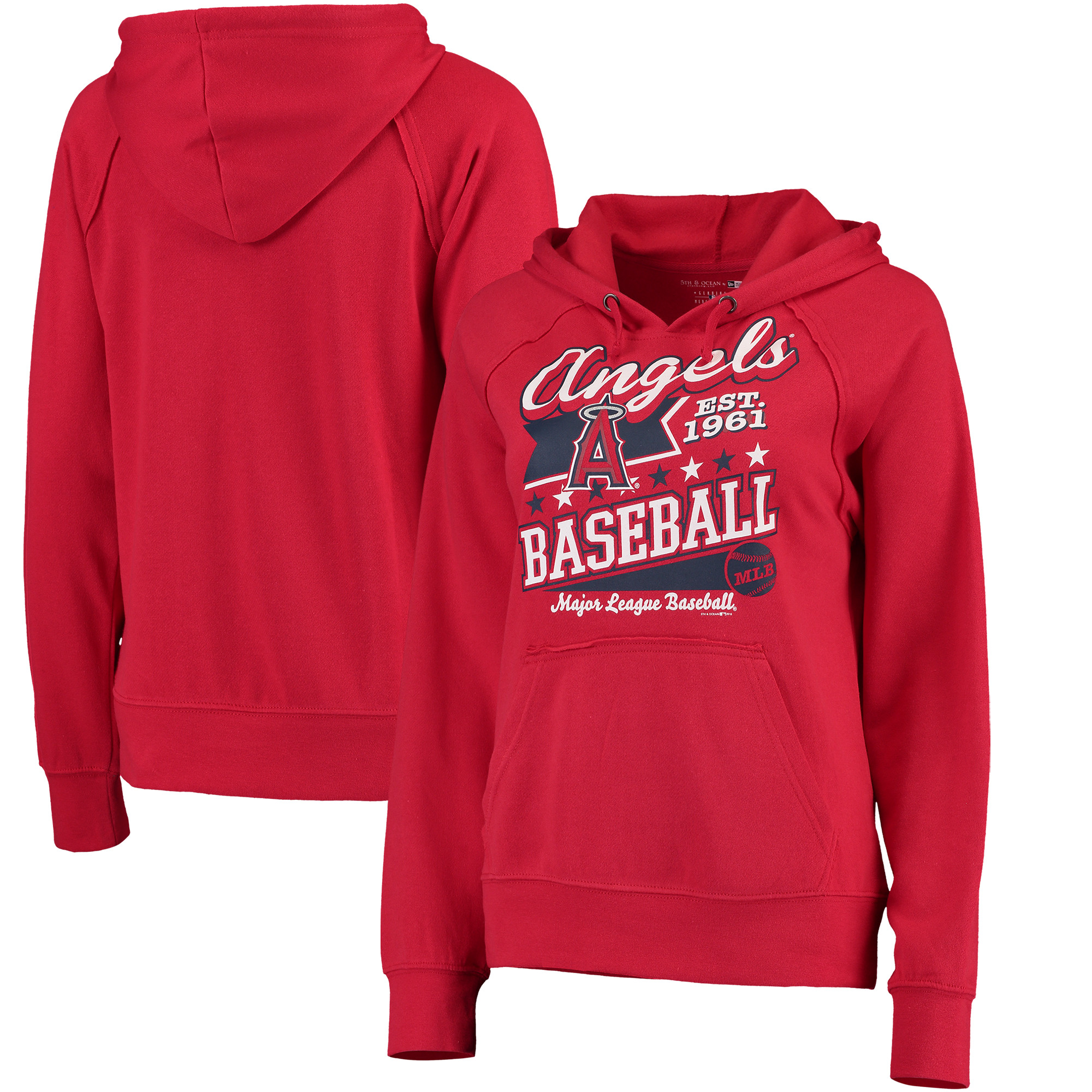 Los Angeles Angels 5th & Ocean by New Era Women's Raw Edges & Pouch Raglan Pullover Hoodie - Red