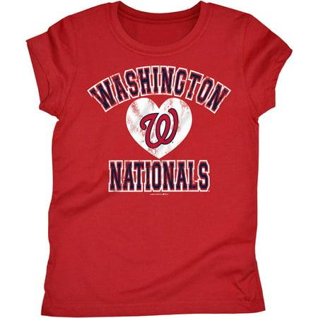 MLB Washington Nationals Girls Short Sleeve Team Color Graphic Tee