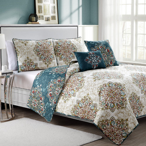 Luxury Home Tranquility 5 Piece Quilt Set