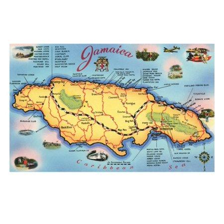 Jamaica Map (Map of Jamaica Print Wall Art )