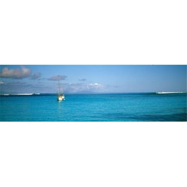 Boat in the ocean  Huahine Island  Society Islands  French Polynesia Poster Print by  - 36 x 12 - image 1 of 1