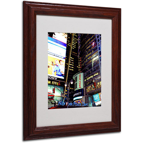 "Trademark Fine Art ""Time Square Lights"" Matted Framed Art by Ariane Moshayedi, Wood Frame"