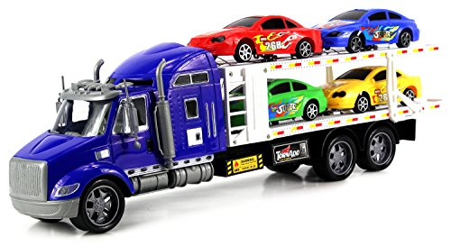 No2 Racing Trailer Children's Kid's Friction Toy Truck Ready To Run w  4 Toy Cars, No... by Velocity Toys