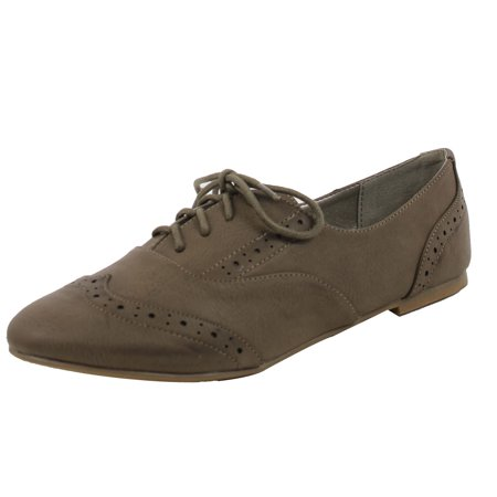 City Classified Womens Zoya Faux Leahter Oxford Lace Up Flat Shoes  Grey  6 M Us