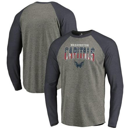 Washington Capitals Fanatics Branded Freedom Tri-Blend Raglan Long Sleeve T-Shirt - Heathered Gray/Heathered Navy