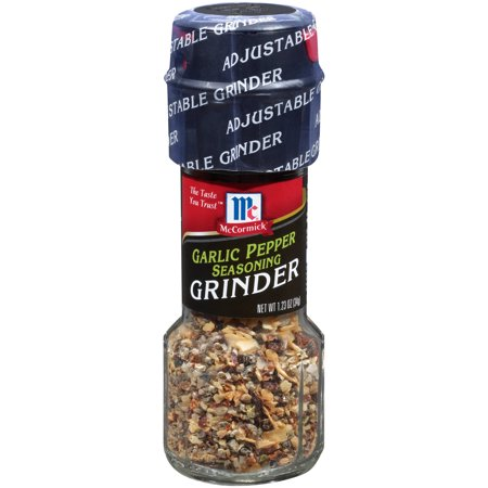(2 Pack) McCormick Garlic Pepper Seasoning Grinder, 1.23 oz - Garlic Edamame Recipe