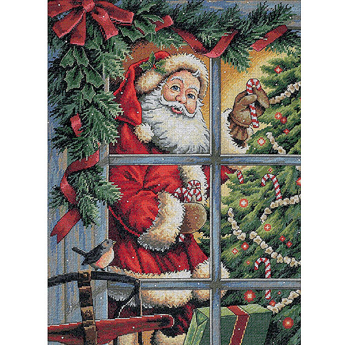 "Dimensions Gold Collection Candy Cane Santa Counted Cross Stitch Kit, 12"" x 16"", 18 Count"