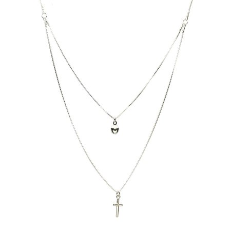 Sterling Silver One-to-two Strand Tiny Cross Heart Charm Box Chain Necklace Italy 16