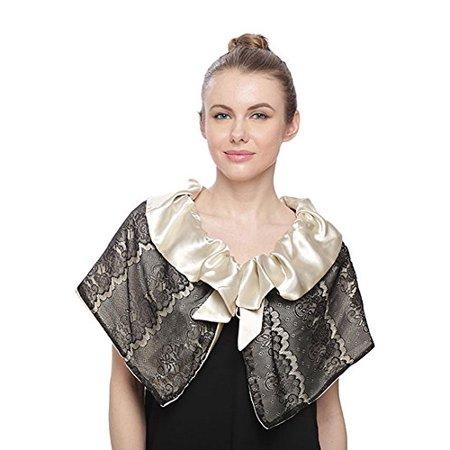 Fashion Secrets Women Lace & Satin Reversible Capelet Jacket Shrug Bolero (Black Beige)