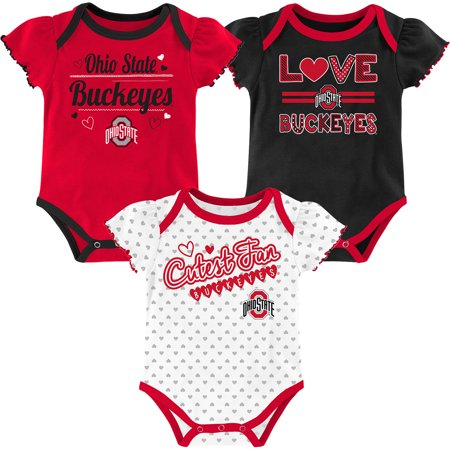 Girls Infant Black/White/Scarlet Ohio State Buckeyes 3-Pack Team Bodysuit Set - Ohio State Baby Clothes