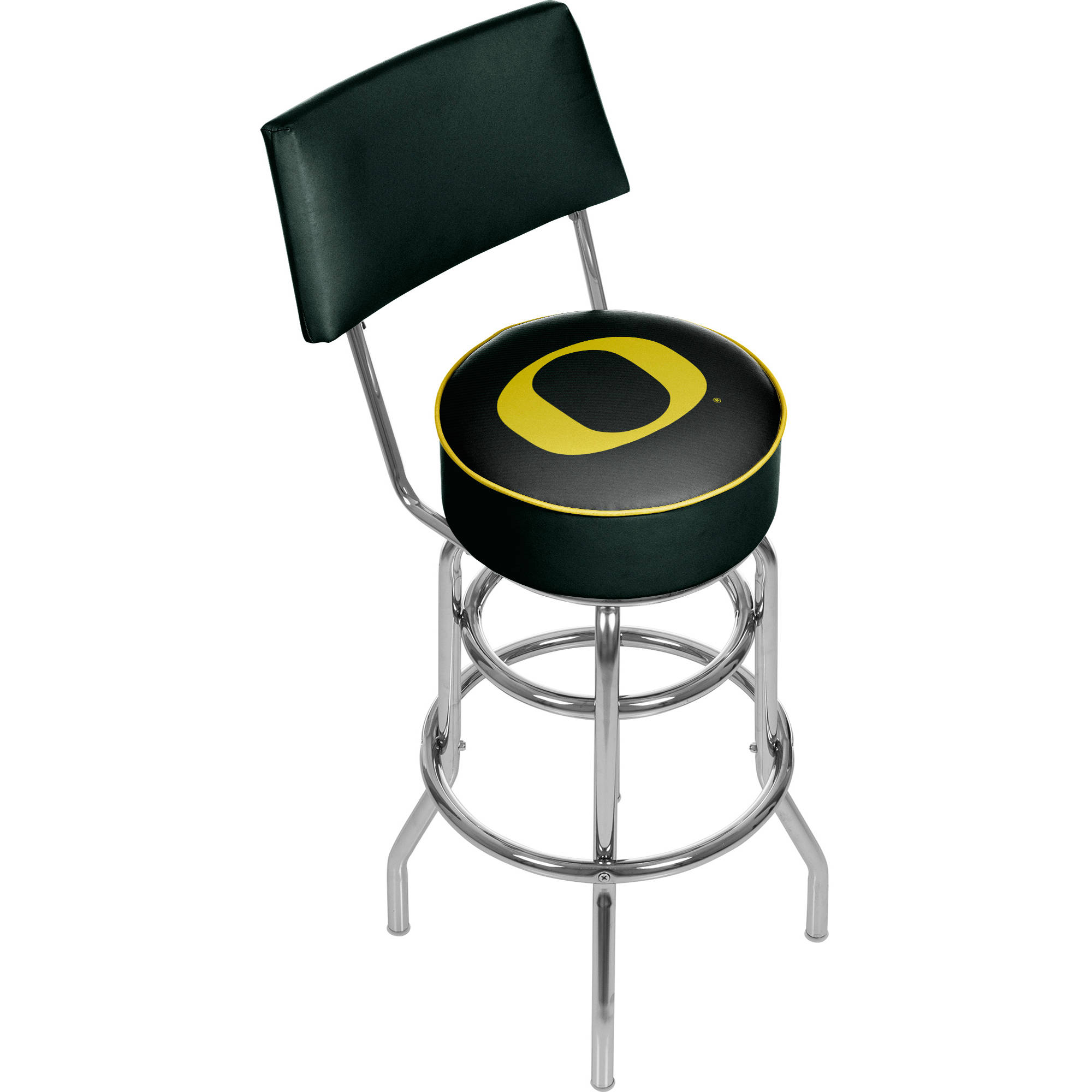 University of Oregon Swivel Bar Stool with Back, Carbon Fiber