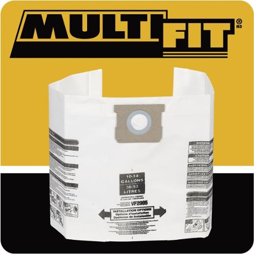 WORKSHOP Multi-Fit VF2005TP General Dust 10 to 14-gallon 6-pack Filter Bags for Wet Dry Shop Vacuum