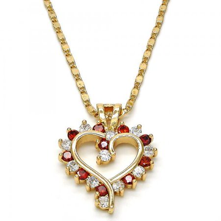 Decorative Heart With White And Garnet Cubic Zirconias Gold Plated Ladies Pendant Necklace By Folks Jewelry