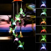 TSV Solar Changing Color Hummingbird Wind Chime, Solar Powered LED Hanging Lamp Windchime Light for Outdoor Indoor Gardening Yard Pathway