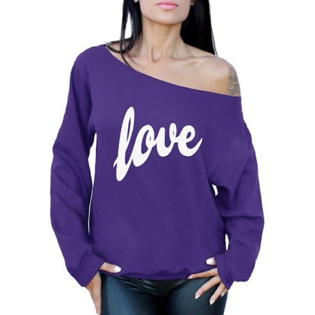 Awkward Styles Love Sweatshirt Love Off The Shoulder Sweatshirt Slouchy Sweater Valentine's Day Gift for Her Love Sweater Love Gift Idea for Women Valentines Day Sweatshirt Love Off the Shoulder - Pink Out Ideas