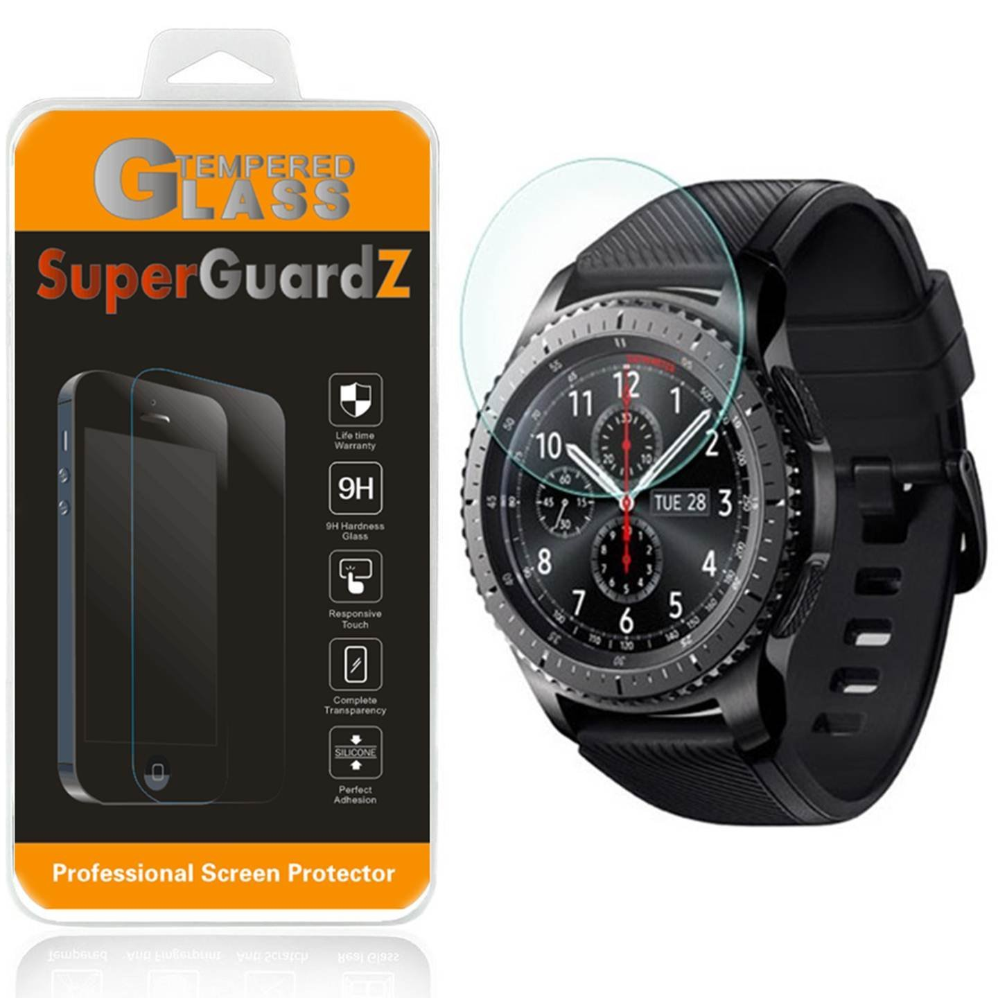 [3-Pack] For Samsung Gear S3 Frontier - SuperGuardZ Tempered Glass Screen Protector, 9H, Anti-Scratch, Anti-Bubble, Anti-Fingerprint