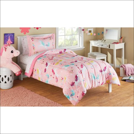 mainstays kids microfiber twin unicorn bed in a bag 1 each. Black Bedroom Furniture Sets. Home Design Ideas