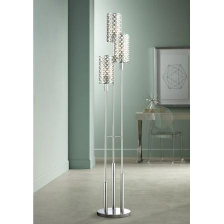 Possini Euro Design Modern Floor Lamp 3 Light Chrome Glitz