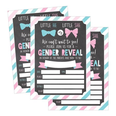 25 Pink and Blue Gender Reveal Baby Shower Party Invitation Cards, He or She Personalized For Gender Neutral Unisex Invites Guess If It's a Boy or Girl Sprinkle Fill In The Blank Printable Invite Pack - Halloween Costume Party Invitations Printable