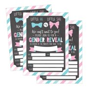 25 pink and blue gender reveal baby shower party invitation cards he or she personalized