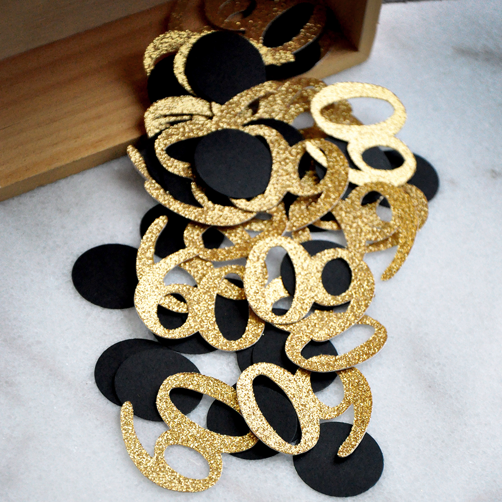 Black and Gold 60th Birthday Decorations. 60th Birthday Ideas. 60 Number Confetti.
