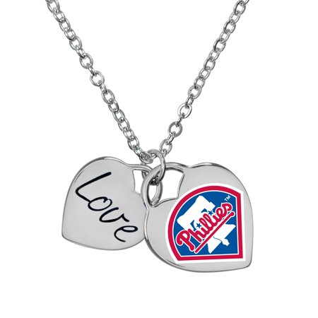 Game Time Offical MLB PHILADELPHIA PHILLIES P LOGO Heart Necklace Profile Logo Heart Pendant