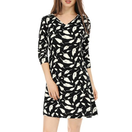 Feathers For Dresses (Unique Bargains Women's V Neck Long Sleeves Feather Print Shift Dress)