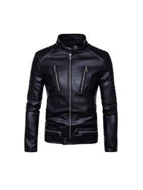 Men Winter Long Sleeve Warm Leather Jacket