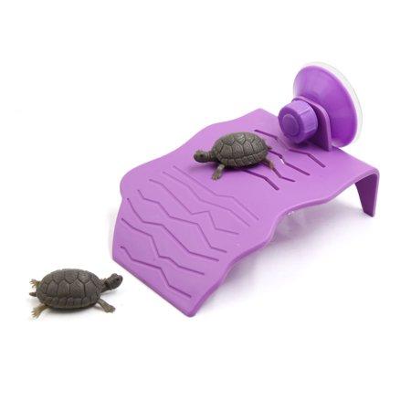 Purple Plastic Turtle Tortoise Reptiles Basking Platform Dock Decor for Aquarium (Plastic Reptiles)