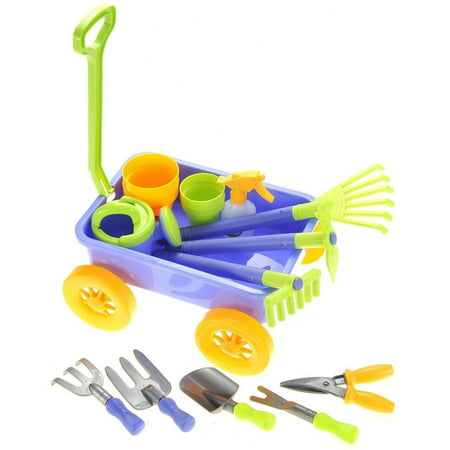 AZ Import PS949 Garden Wagon & Tools Toy Set for Kids with 8 Gardening Tools, 4 Pots, Water Pail & Spray