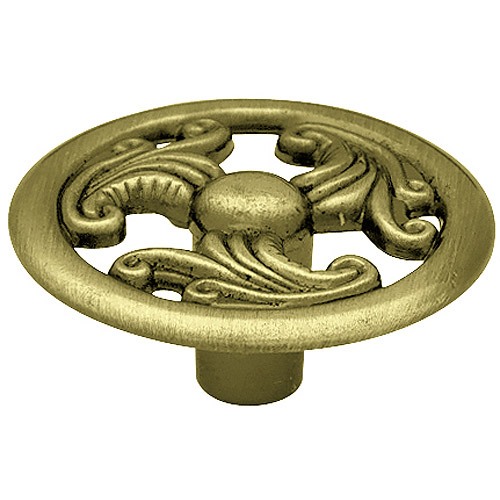 "Brainerd 1.5"" Wing Design Round Knob, Antique Brass"