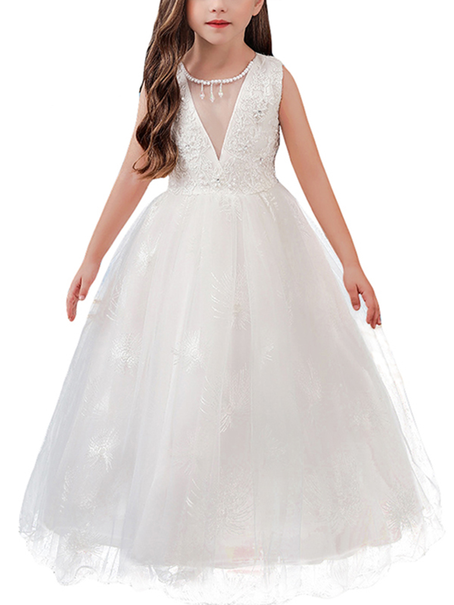 Kids Girls Princess Dress 3//4 Sleeves Maxi Overlay Pageant Wedding Formal Party