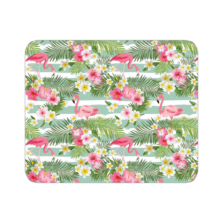 OTM Prints White Mouse Pad, Flamingo & Flowers