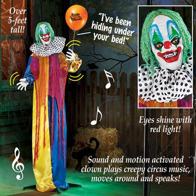 winston inc Motion Activated Sound Happy Halloween Eyes Shine Red Lights Plays Eerie Circus Music Animated Creepy Scary Colorful Clown - Halloween Horror Scary Sounds And Music
