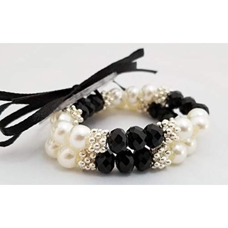 Floral Corsage Bracelet in Black, Faux Pearl Rhinestone Grace Collection](Ms Bracelets)