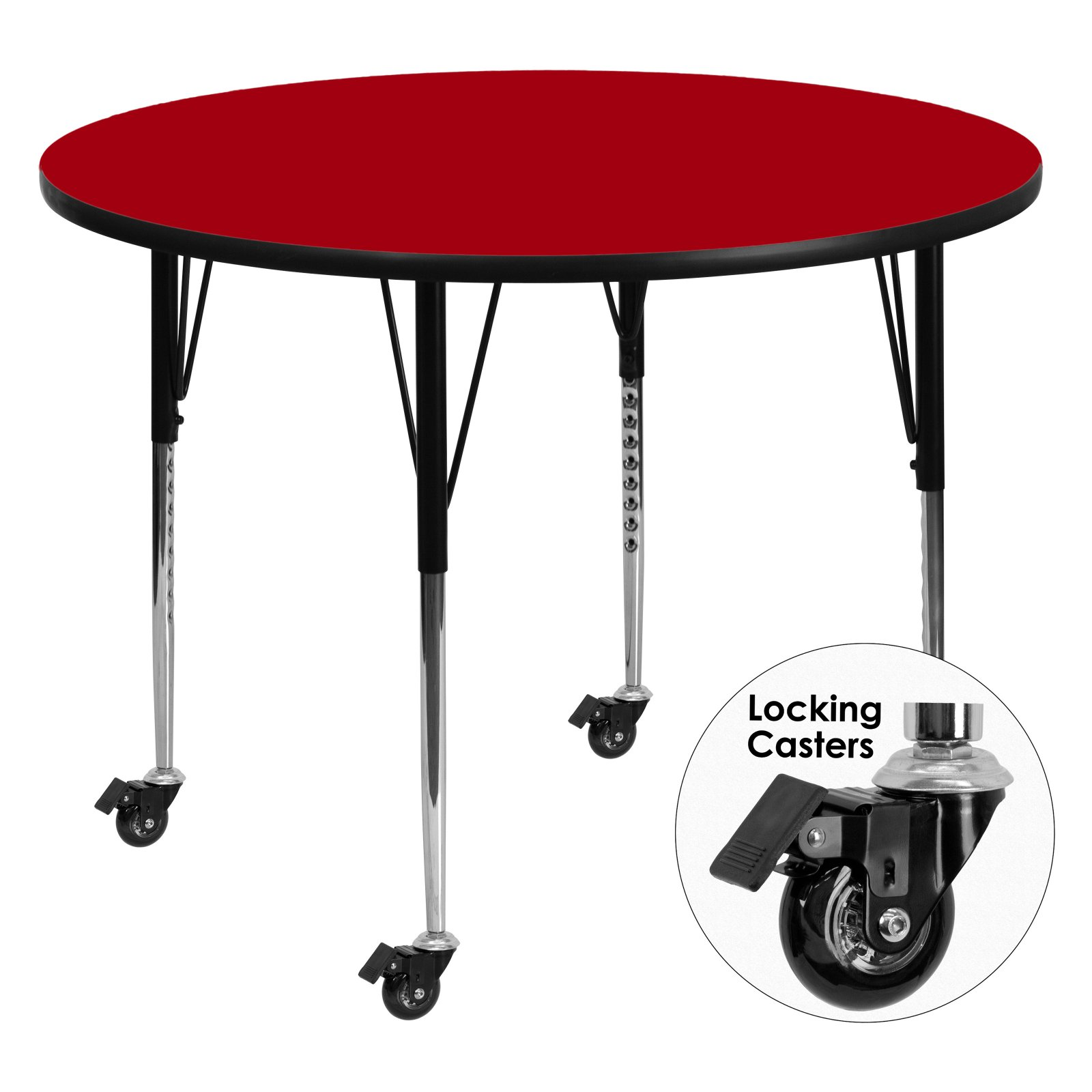Flash Furniture Mobile 60'' Round Activity Table with Red Thermal Fused Laminate Top and Standard Height Adjustable Legs