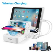 ALLCACA Smart Charging Station Dock & Organizer 5-Port USB Charging Station Dock Desktop with 1 Wireless Charging Pad 40W for Smartphones, Tablets & Other Gadgets - White
