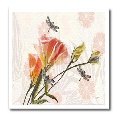 3dRose Dragonflies and Roses - Quilt Square, 6 by 6-inch