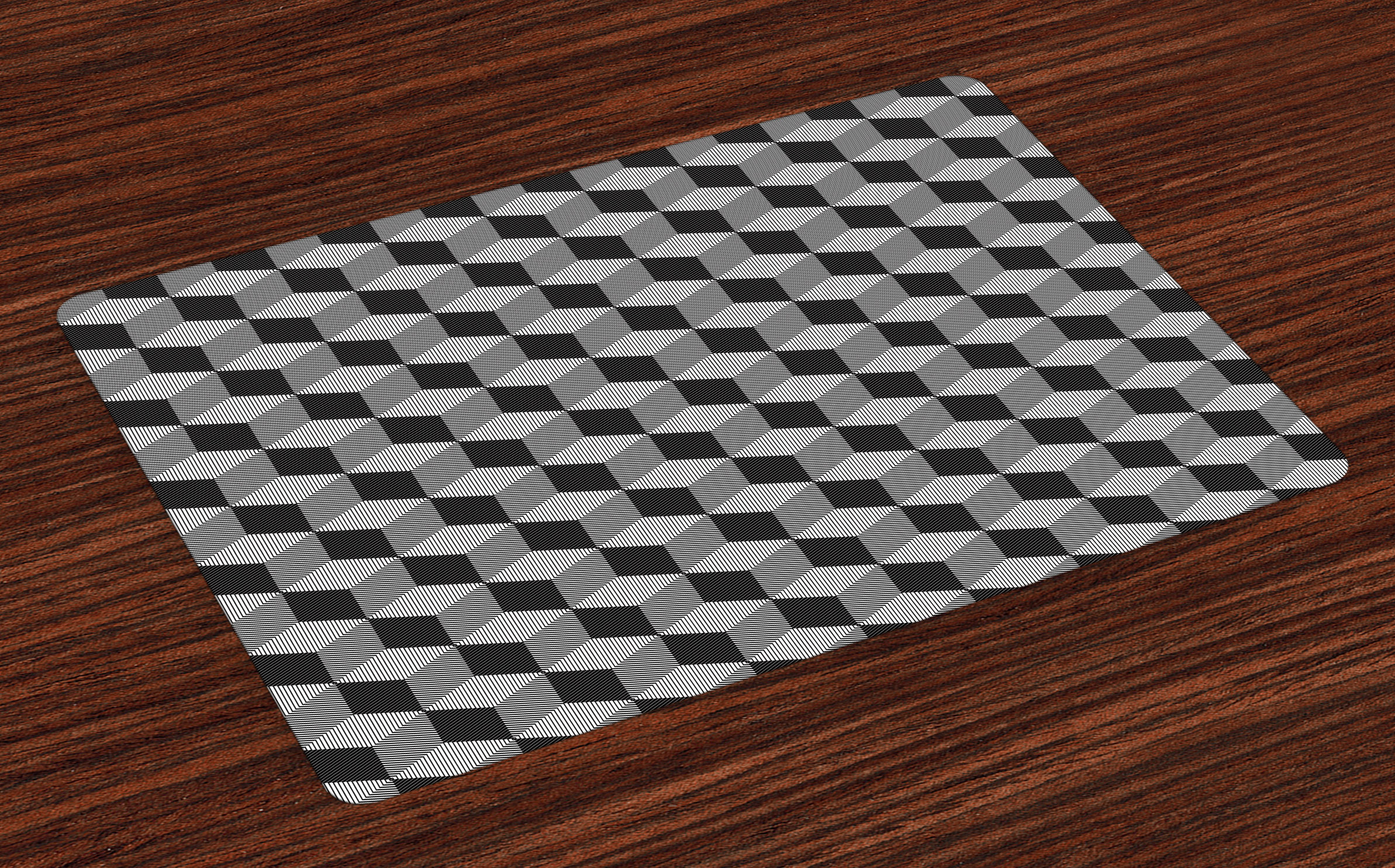 black and white placemats set of 4 monochrome cube composition with abstract 3d design optical. Black Bedroom Furniture Sets. Home Design Ideas