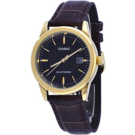 - MTP-VS01GL-1A Men's Standard Gold Tone Solar Leather Band Black Dial Date Watch