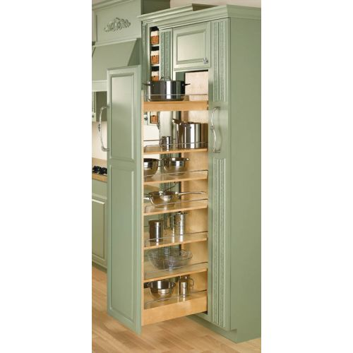 "Rev-A-Shelf 448-TP58-14-1 448 Series 14"" Wide by 58"" Tall Pull Out Pantry Cabinet Organizer with Six Adjustable Shelves"