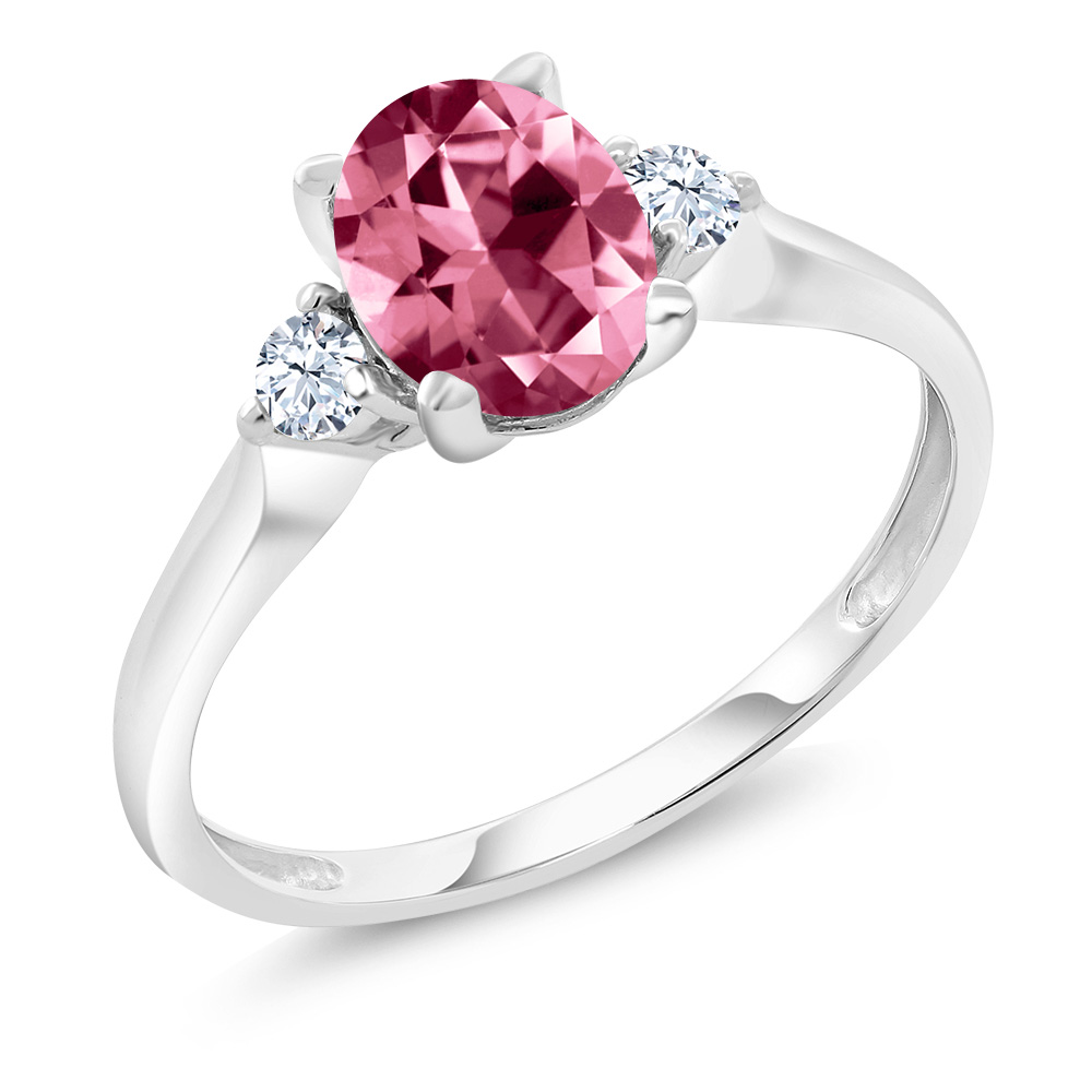 10K White Gold Ring Created Sapphire Set with Oval Pink Topaz from Swarovski by