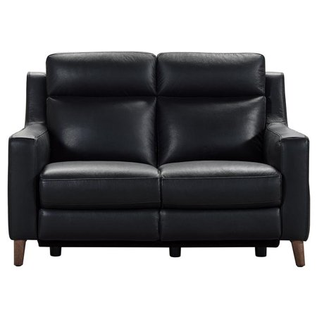 Juliette Black Contemporary Top Grain Leather Power Recliner Loveseat with USB